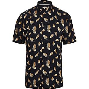 Navy short sleeve feather print T-shirt