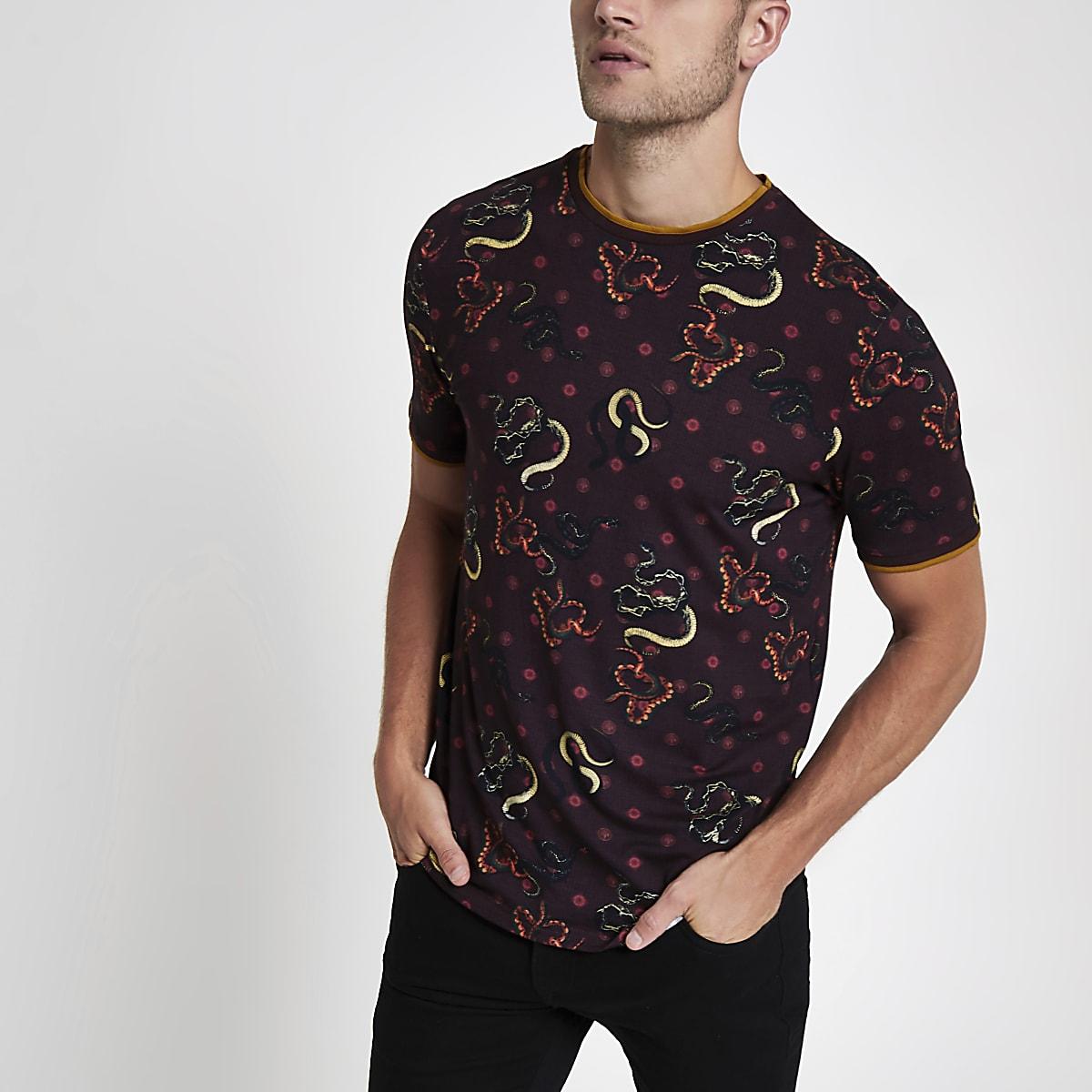 T-shirt imprimé serpent slim rouge foncé
