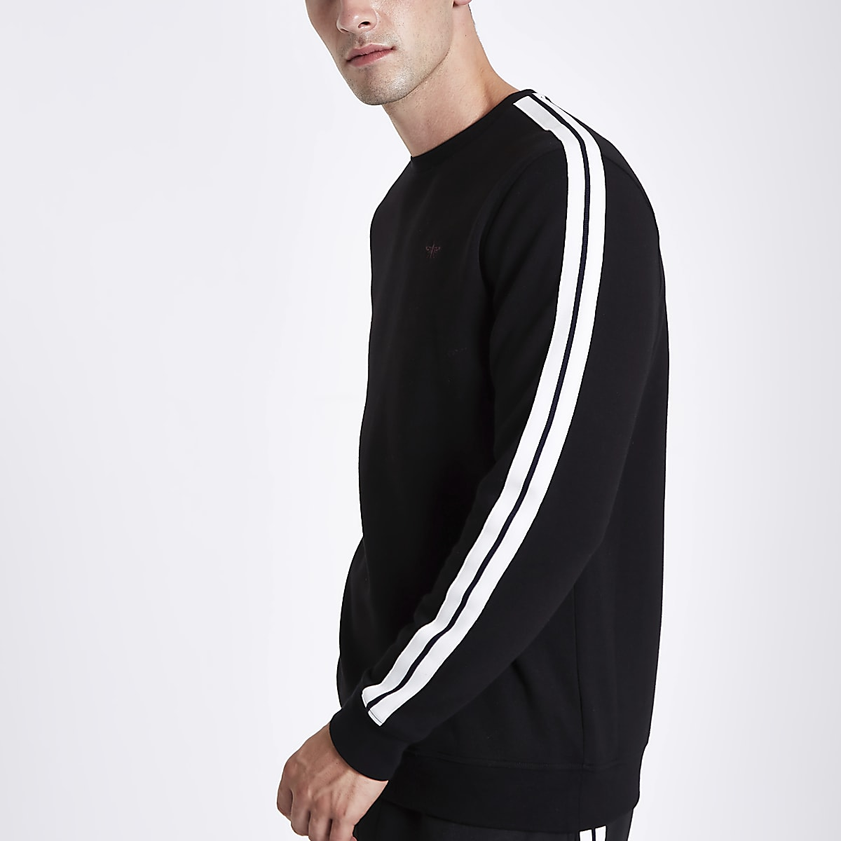 Black slim fit tape sleeve sweatshirt