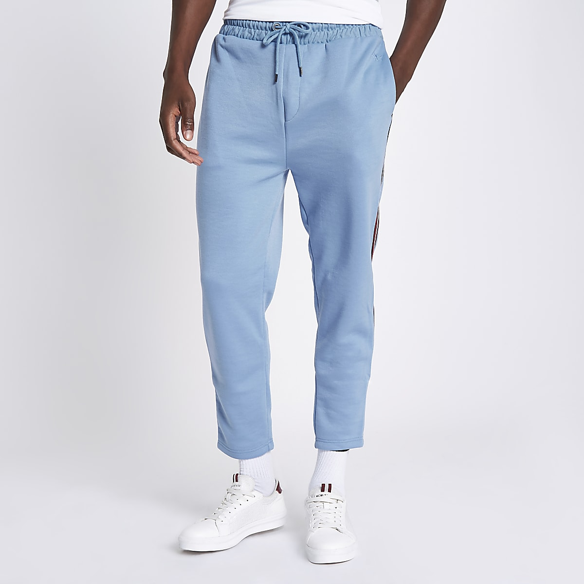 Blue tape side slim fit joggers