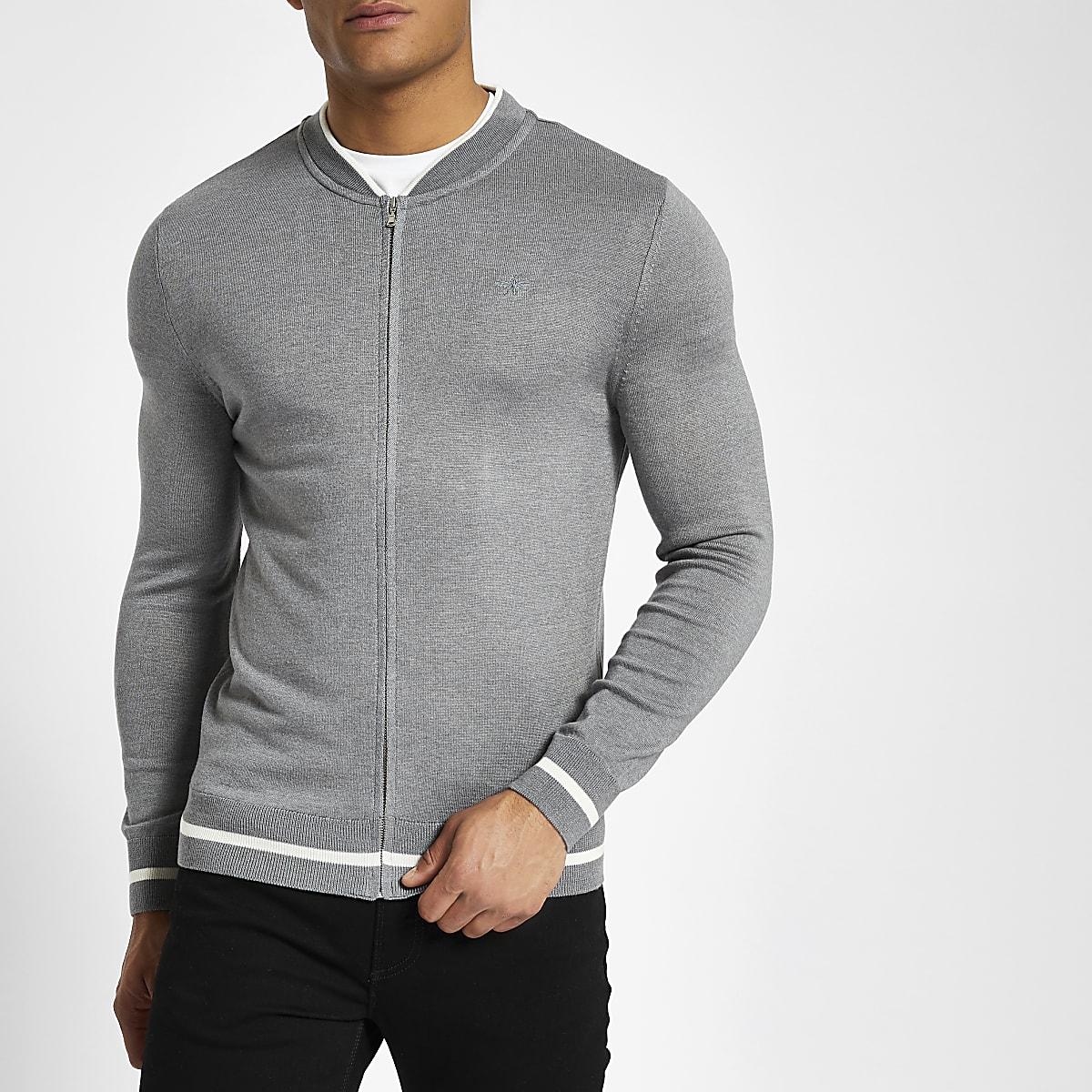 Grey zip front slim fit bomber cardigan