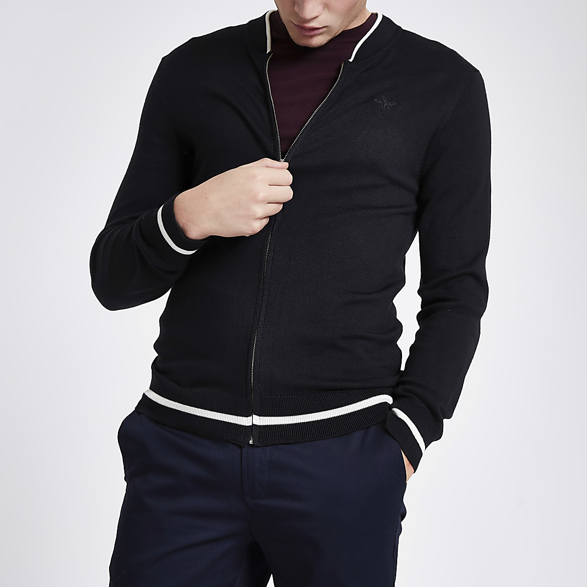 Navy zip front slim fit bomber cardigan