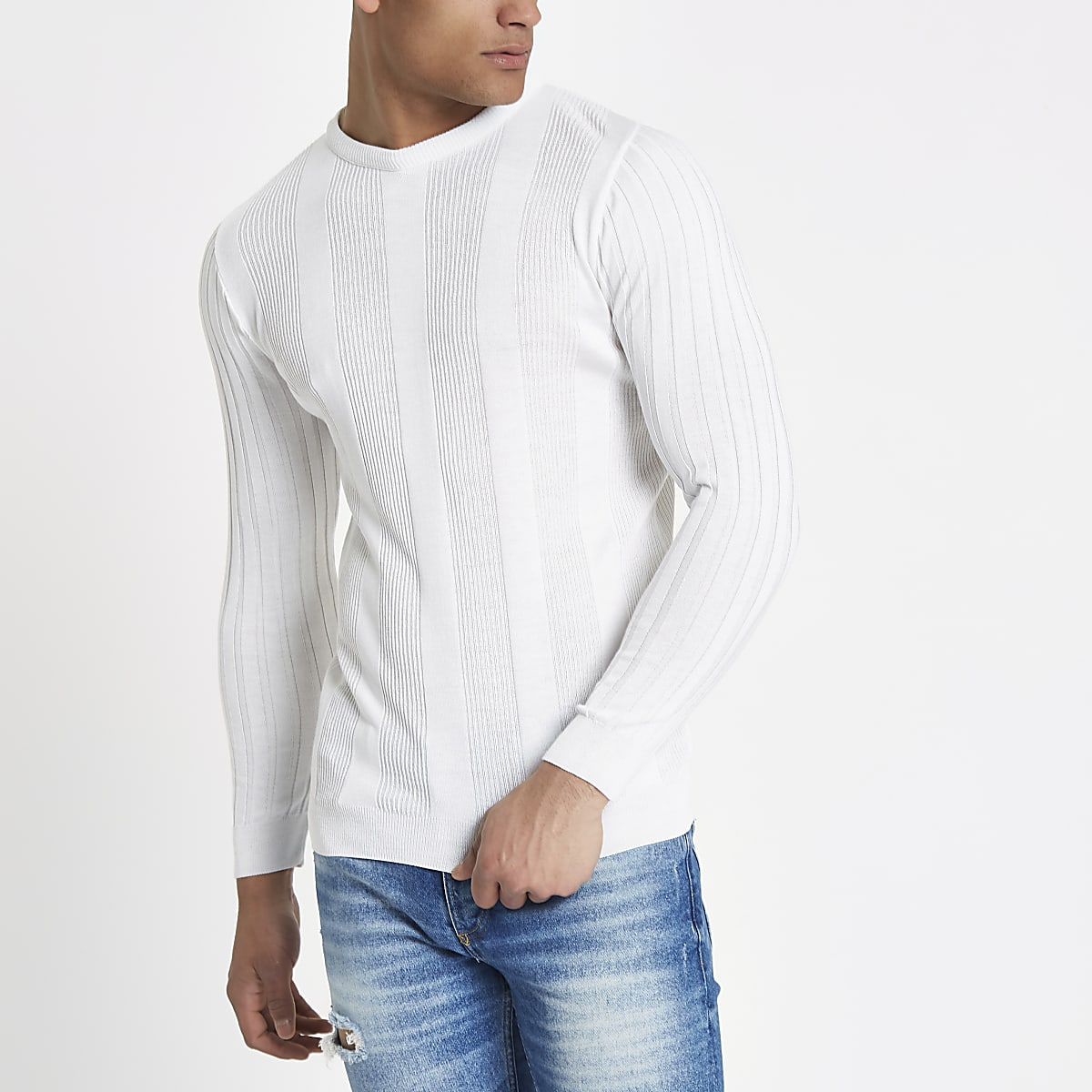 White long sleeve ribbed muscle fit sweater
