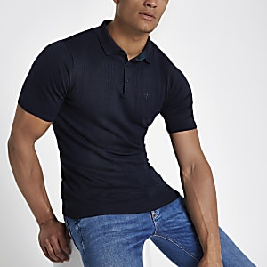 Navy cable knit slim fit polo shirt