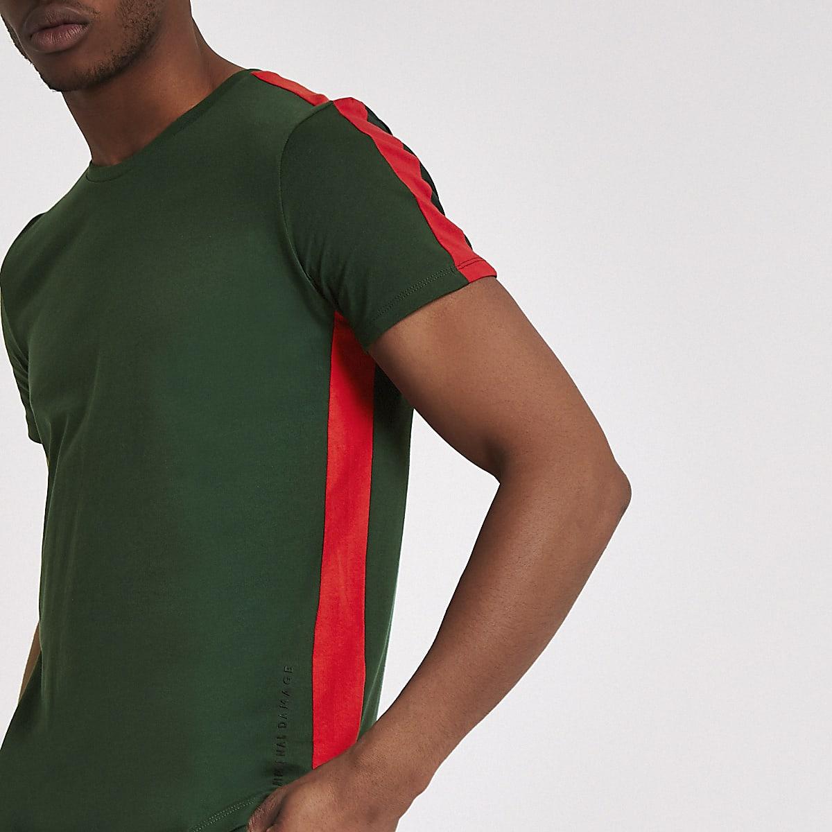 Criminal Damage green stripe side T-shirt