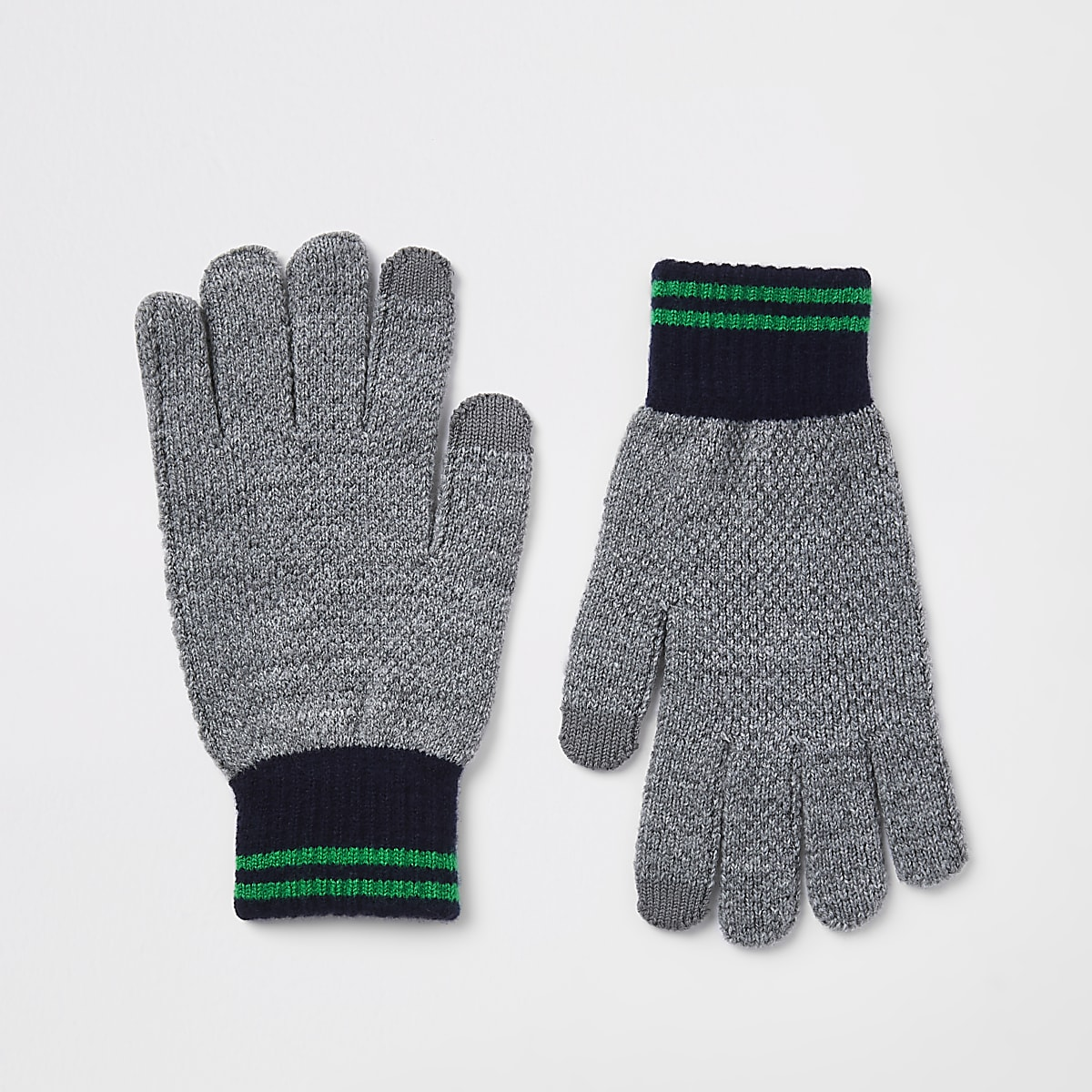 Grey knitted gloves