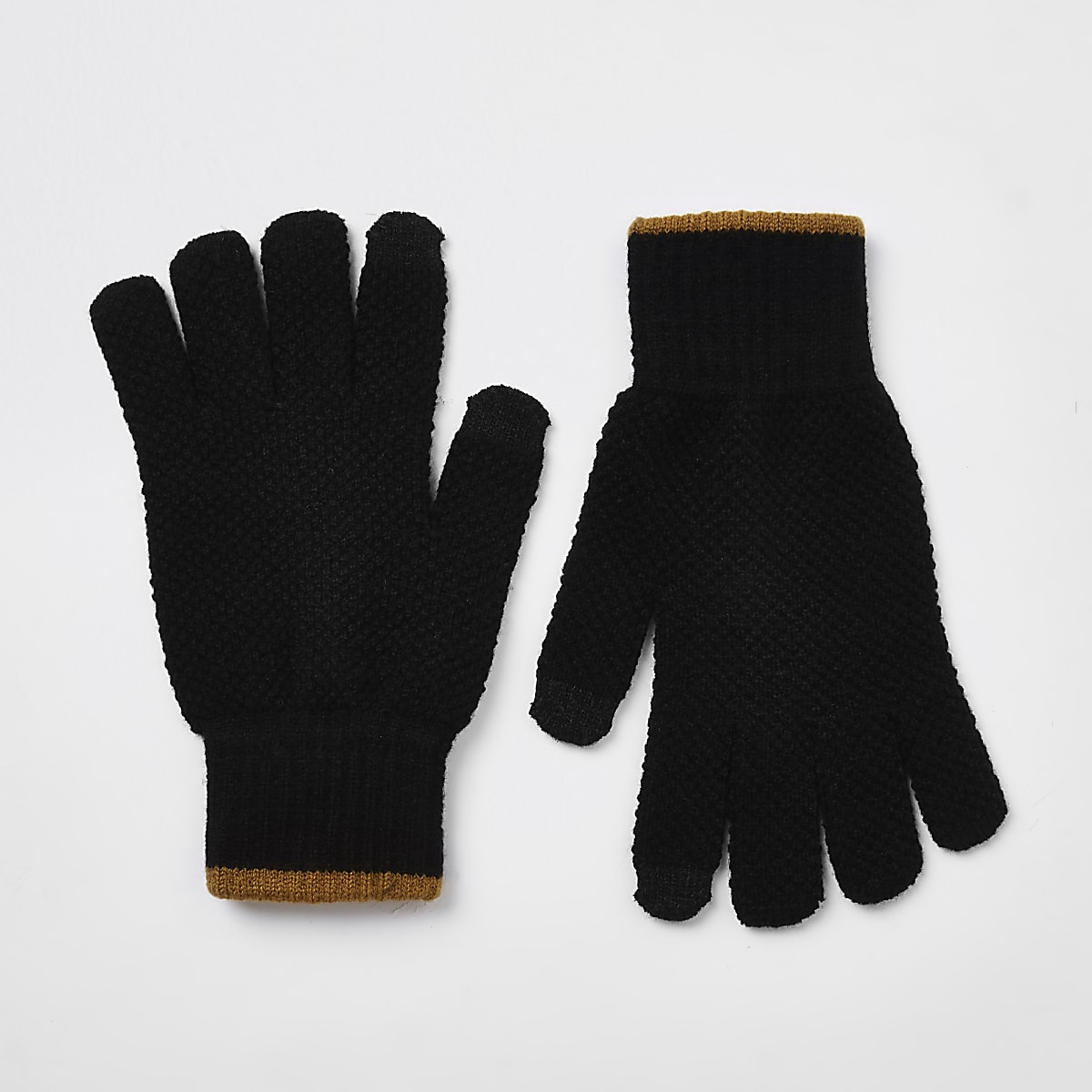 Black knit stripe cuff gloves