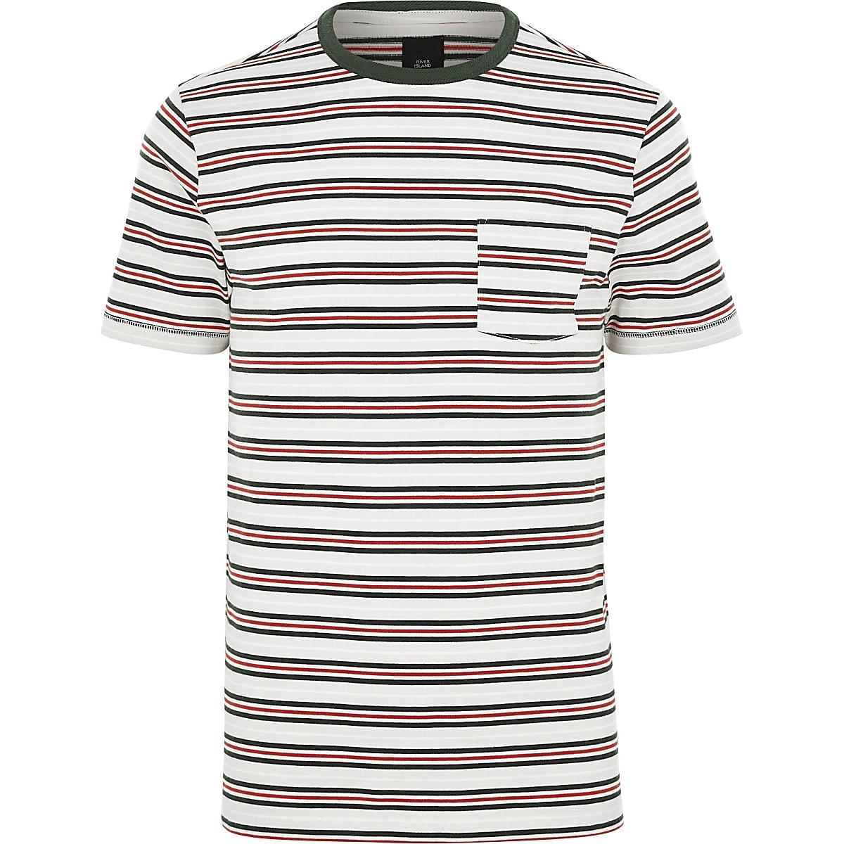Big & Tall - Wit gestreept T-shirt met ronde hals