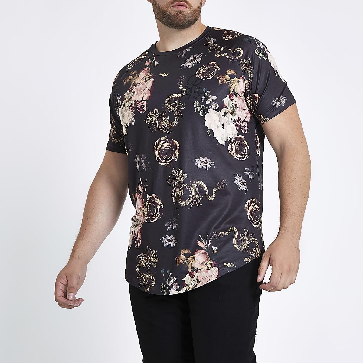 Big & Tall – Schwarzes T-Shirt in Schlangenlederoptik