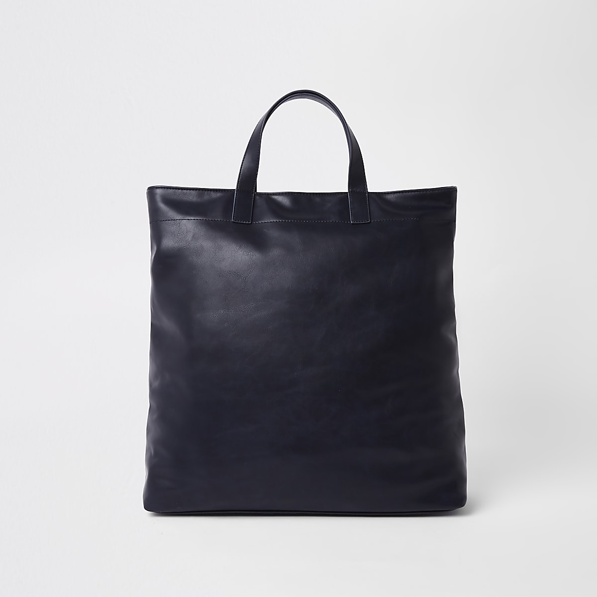 Navy faux leather tote bag