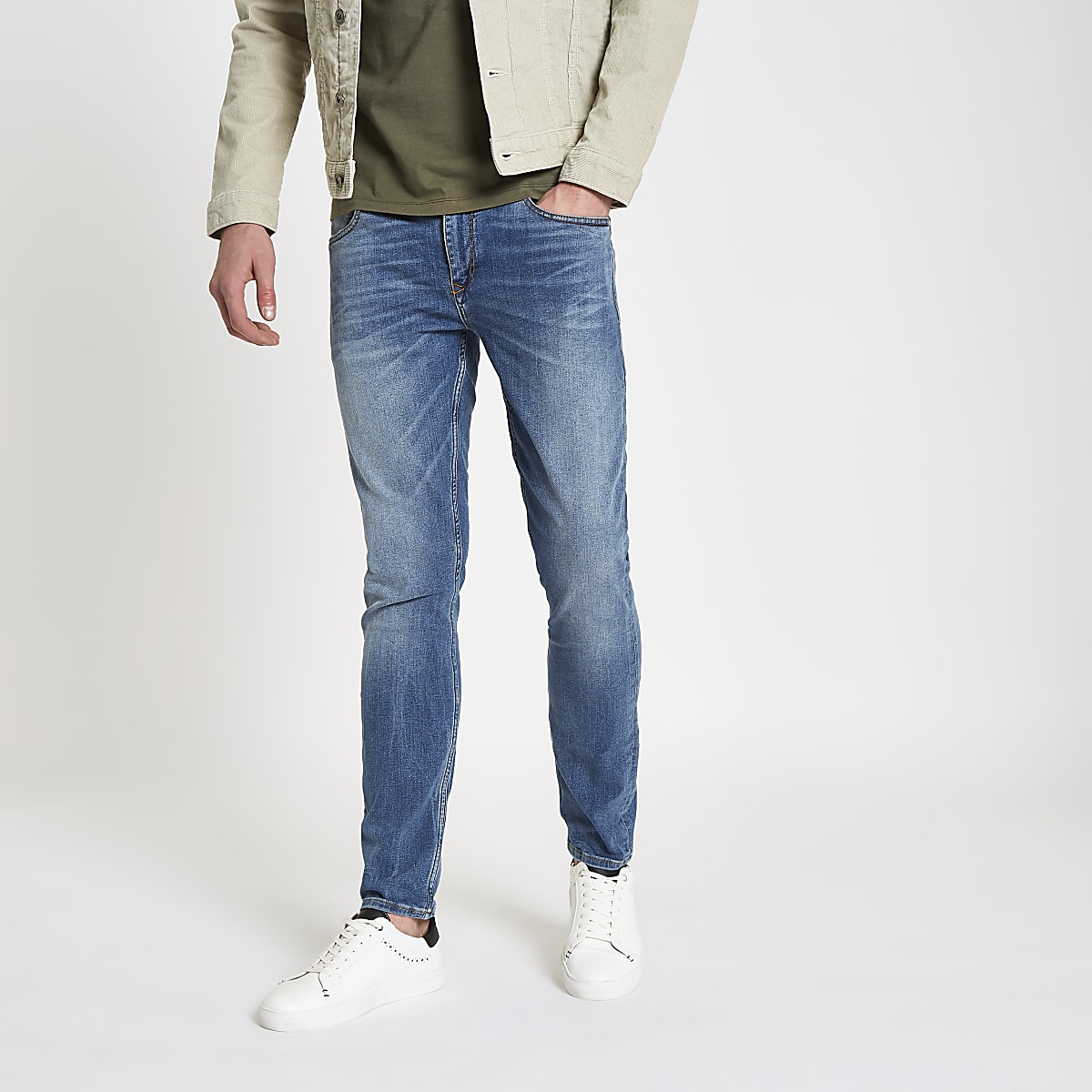 Mid blue Sid distressed skinny jeans