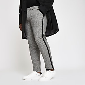 Big and Tall – Pantalon chino skinny à carreaux gris