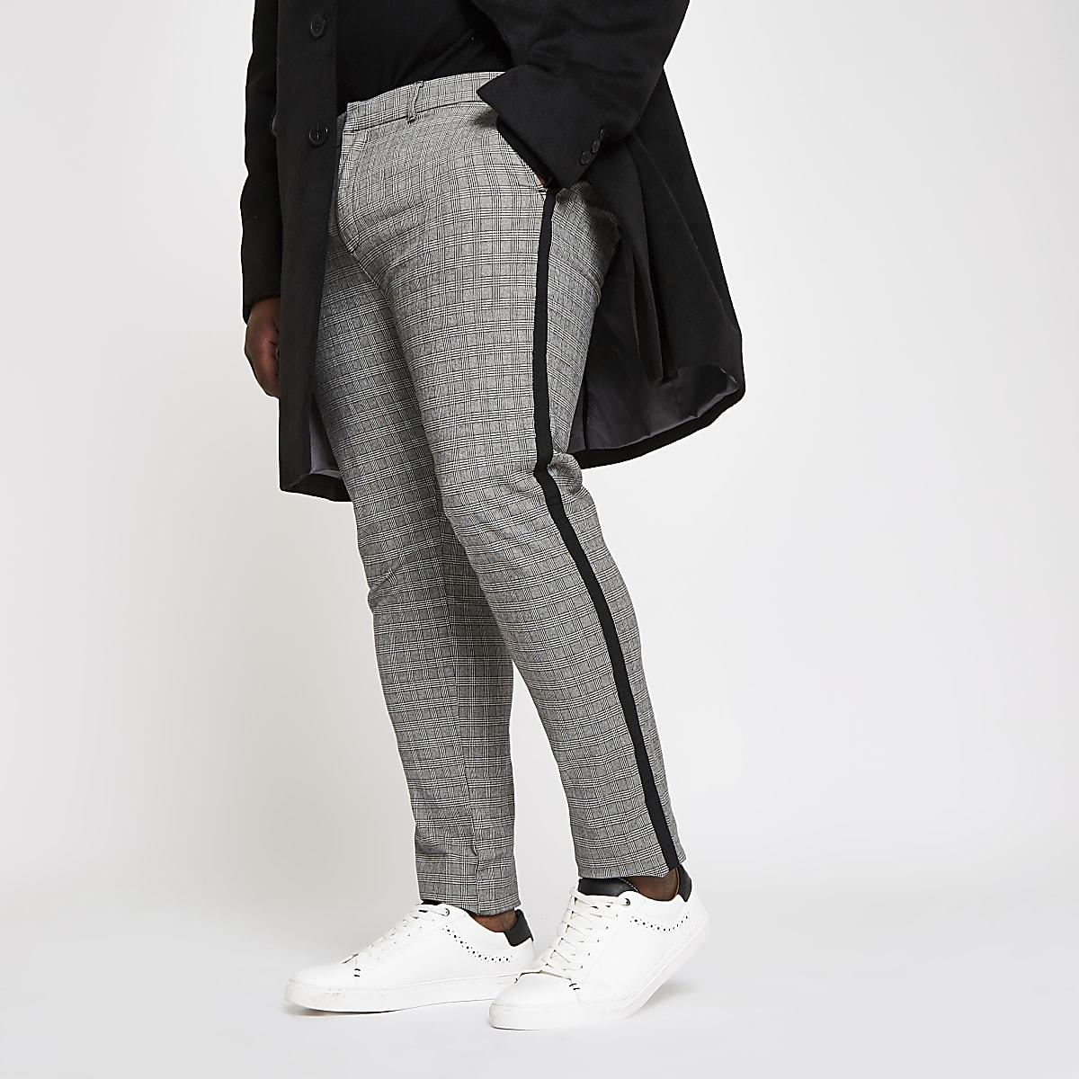 Big and Tall – Pantalon chino skinny à carreaux gris
