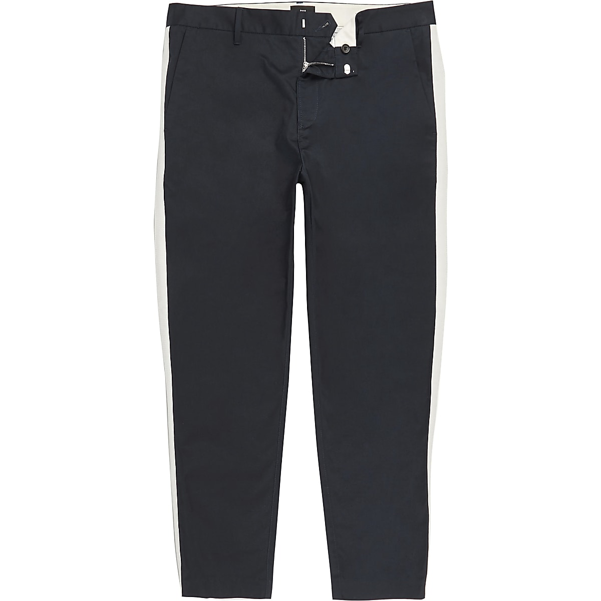 Big and Tall – Pantalon skinny bleu marine à bandes latérales