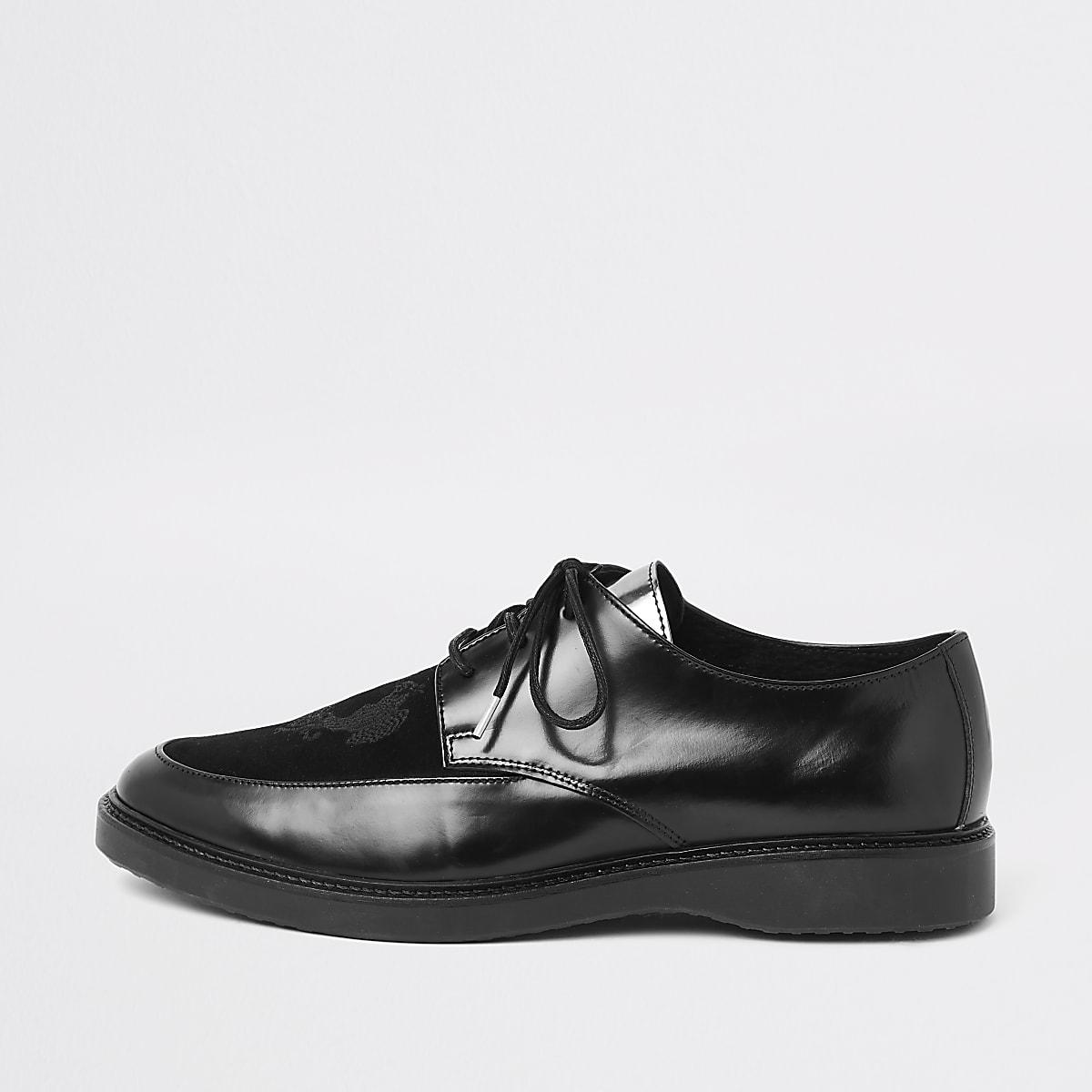 RI 30 - Zwarte leren creeper schoenen