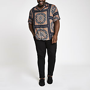 Big and Tall black scarf print revere shirt