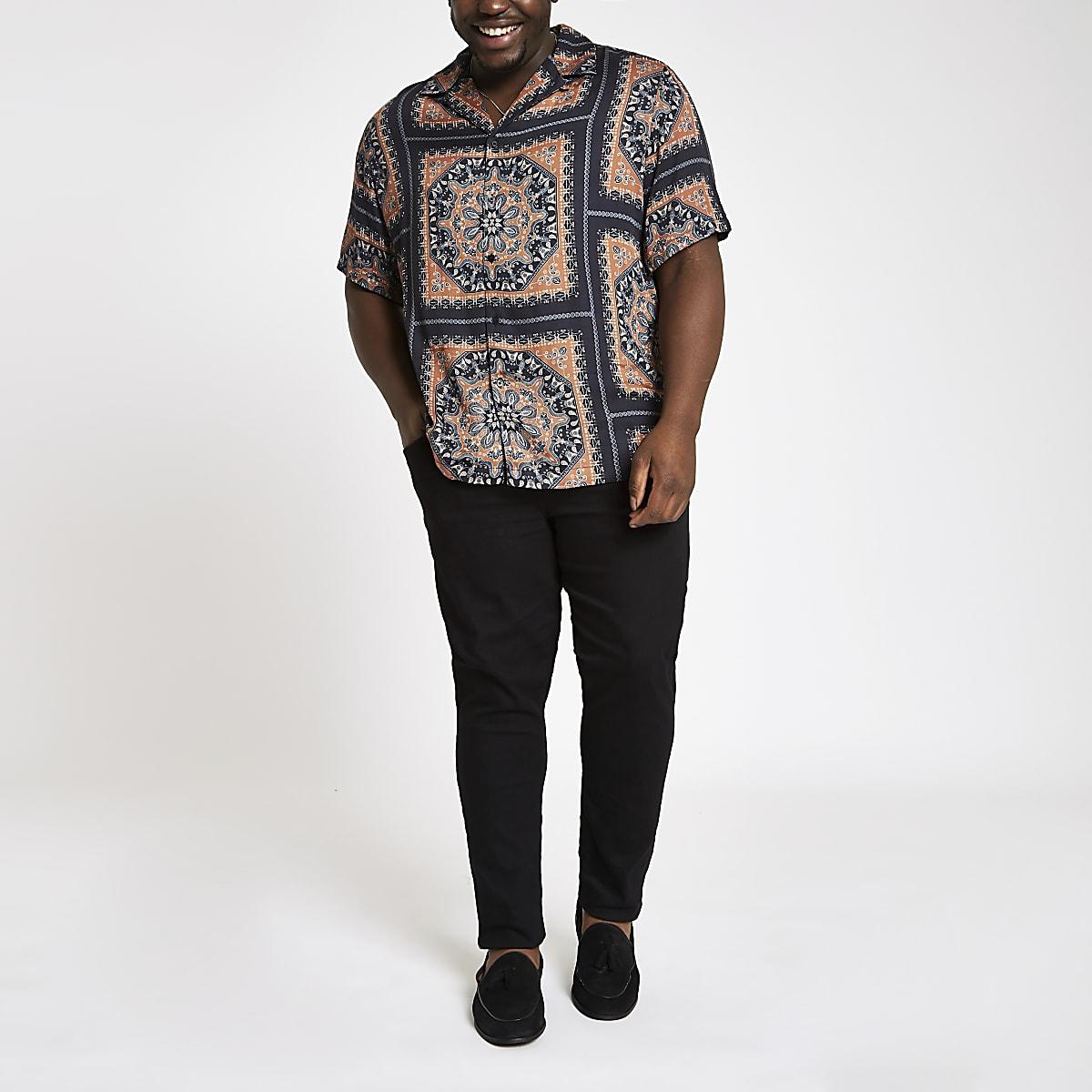 Big and Tall – Chemise à imprimé foulard noire à revers