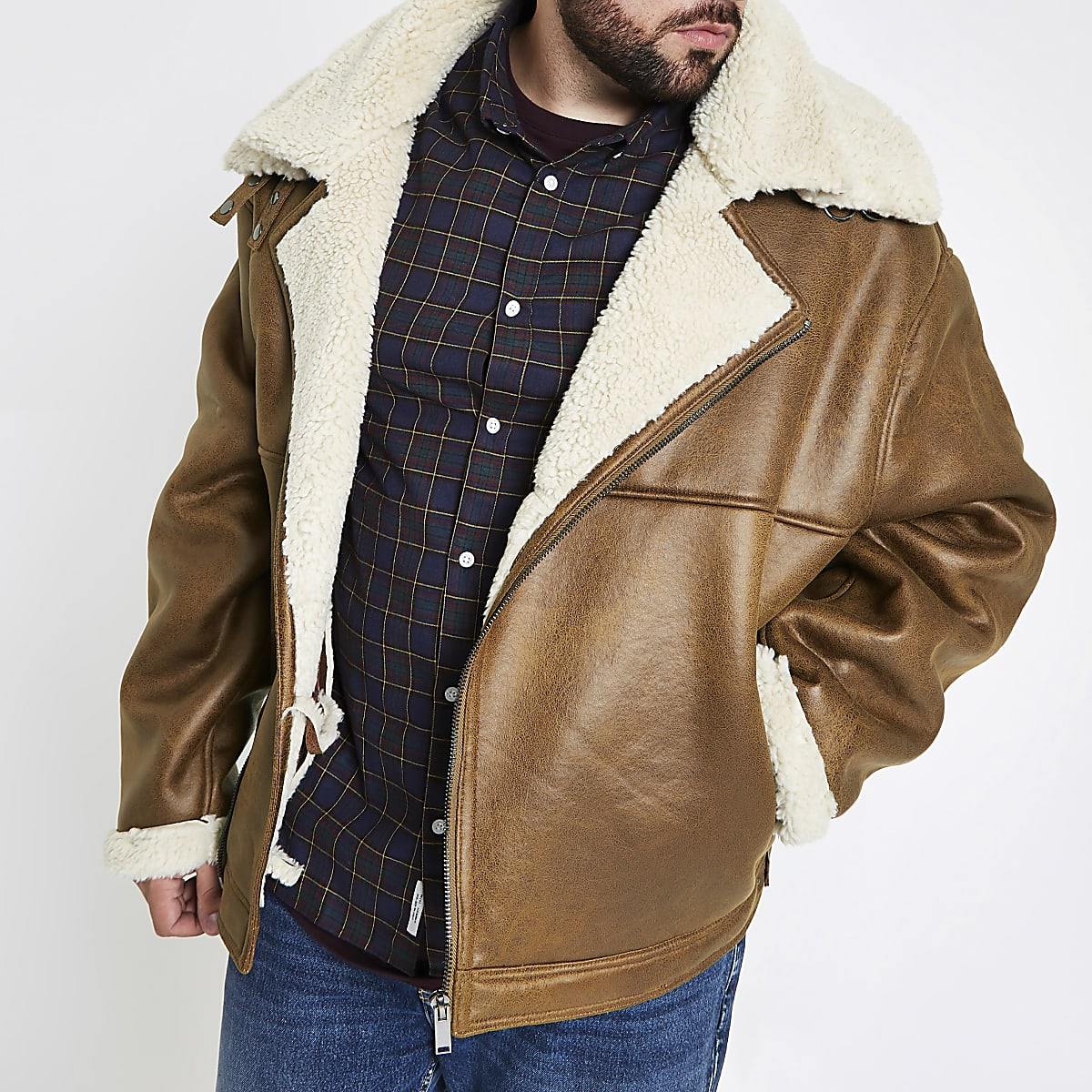 Big and Tall tan borg lined biker jacket