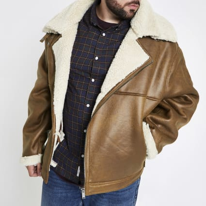 Big and Tall tan borg lined biker jacket