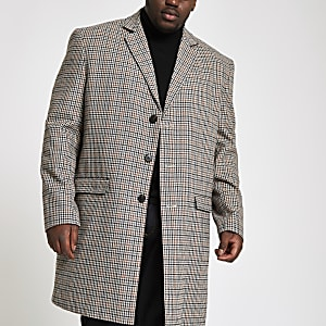Big and Tall brown check smart overcoat