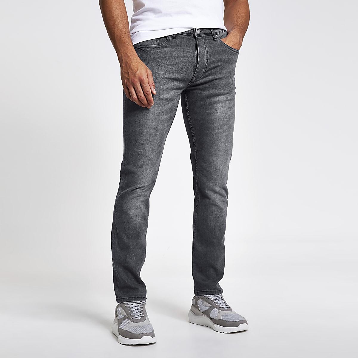 Dylan - Grijze wash slim-fit jeans met kleurverloop