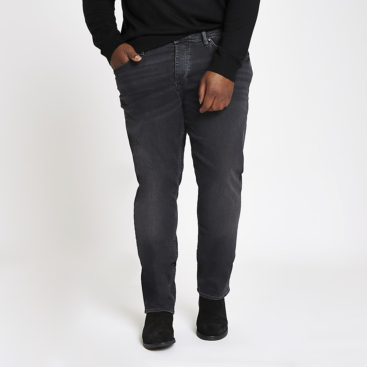Big and Tall – Dylan – Slim Jeans in Schwarz