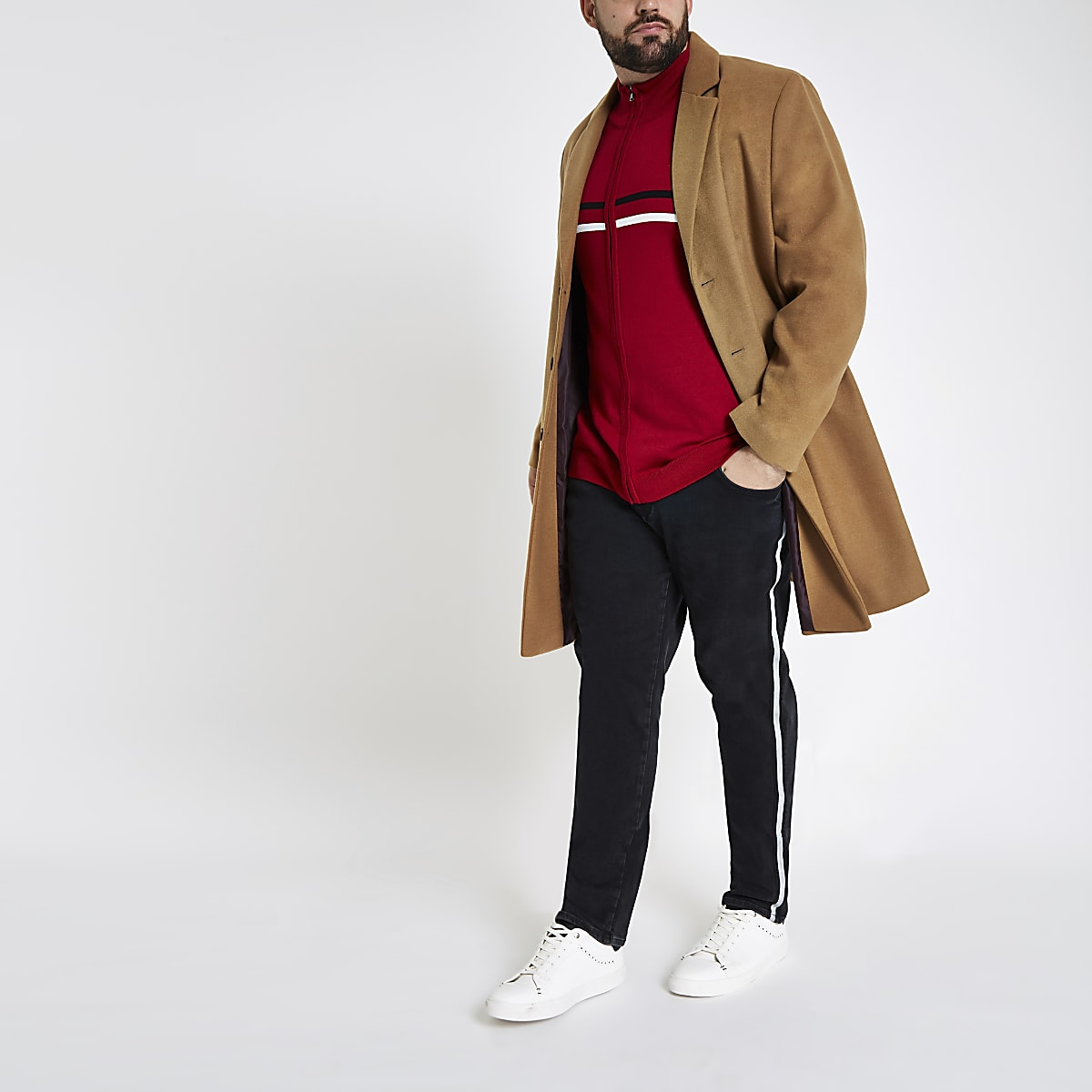 Big and Tall – Jean skinny noir à bandes latérales