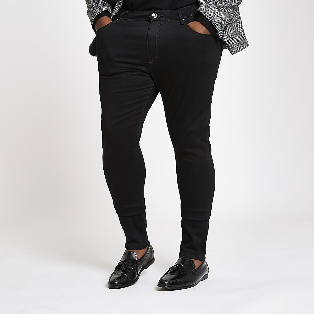 Big & Tall – Schwarze Super Skinny Jeans
