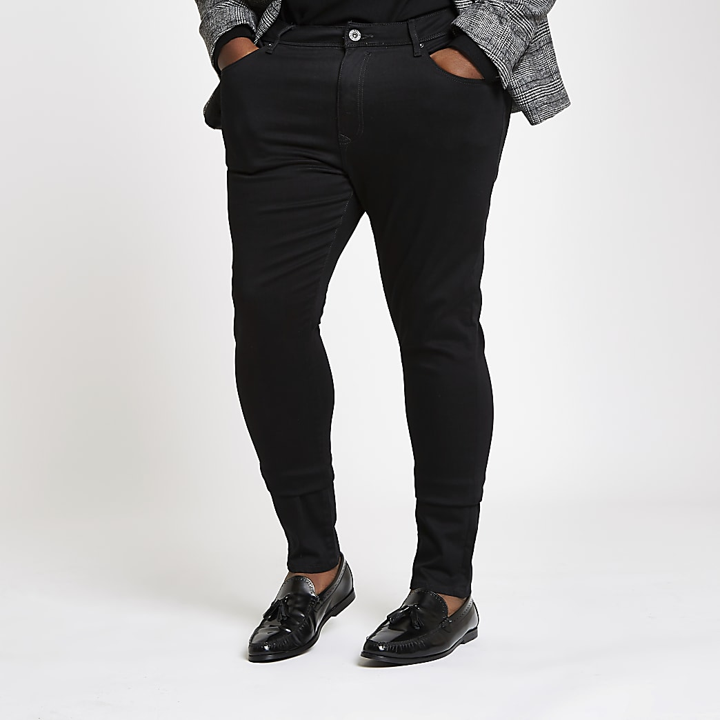 Big and Tall black Danny super skinny jeans