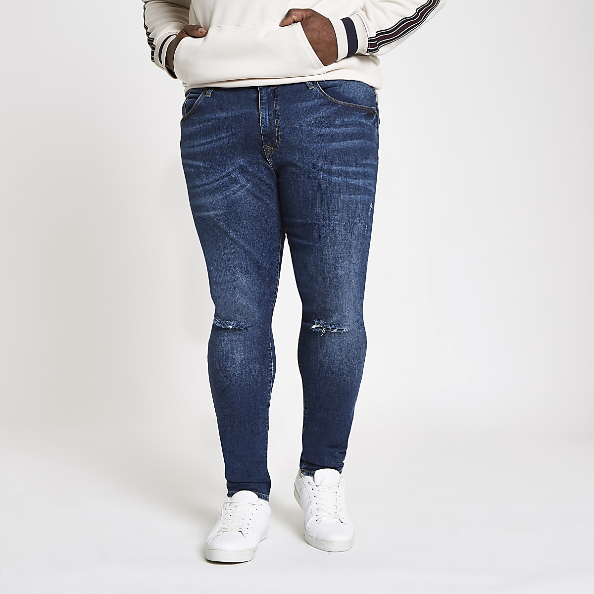 Big and Tall – Jean ultra skinny bleu foncé