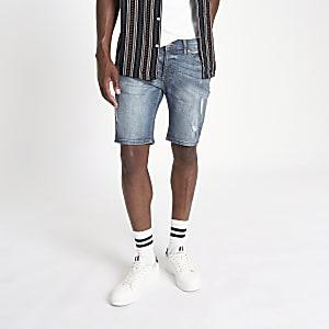Sid – Short en denim skinny bleu moyen déchiré