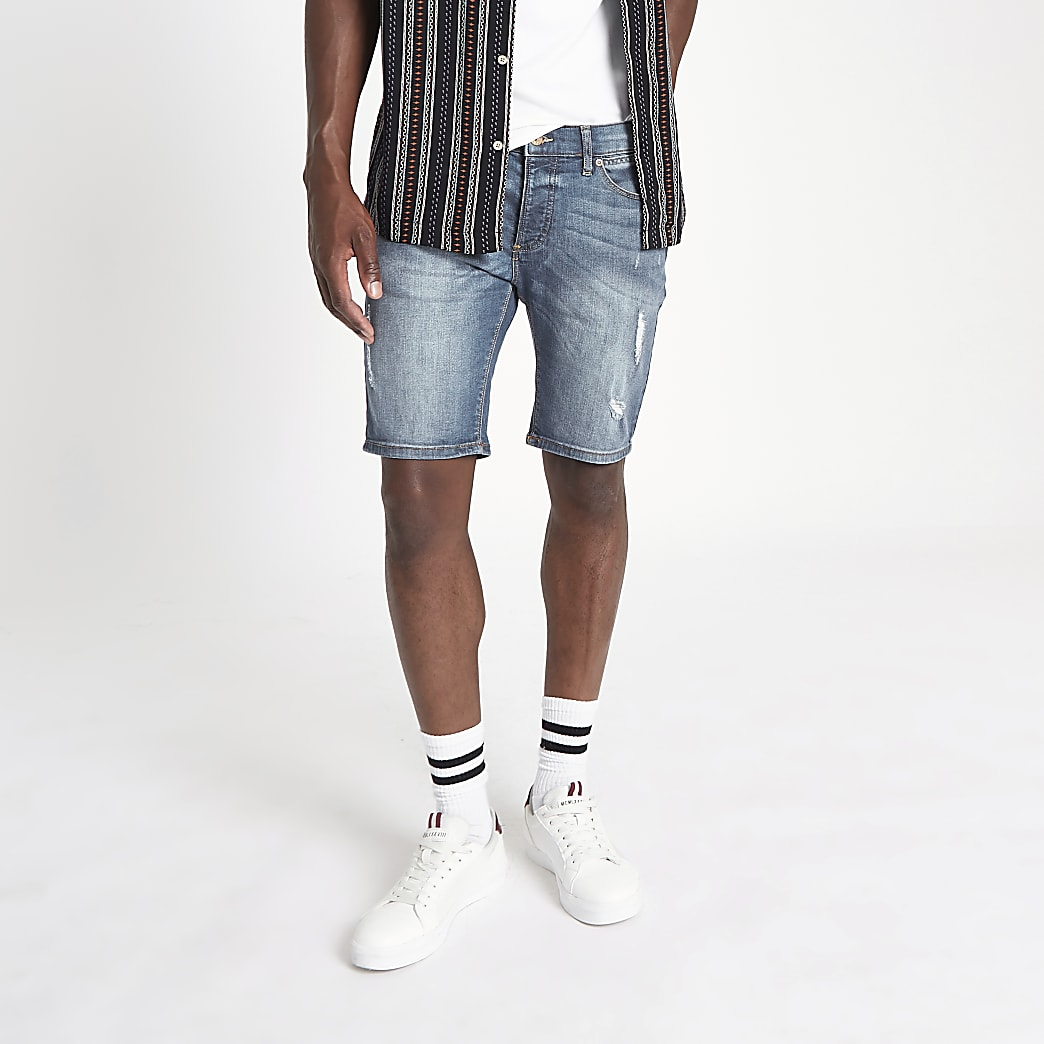 Mid blue Sid ripped skinny fit denim shorts