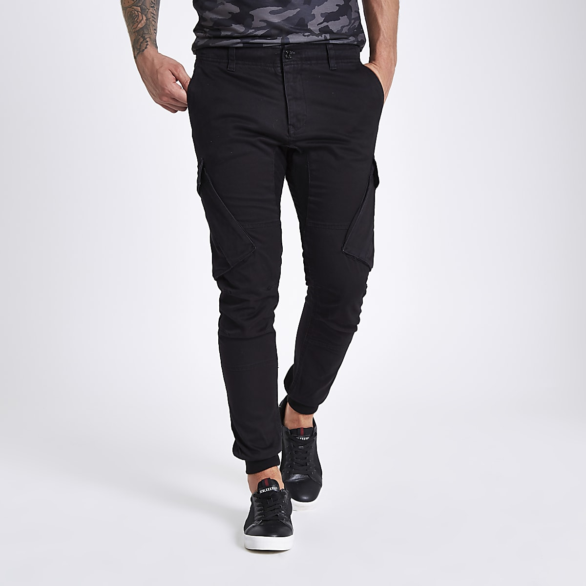 4a07119313755d Black tapered cargo trousers - Casual Trousers - Trousers - men