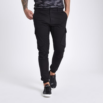 Black tapered cargo trousers