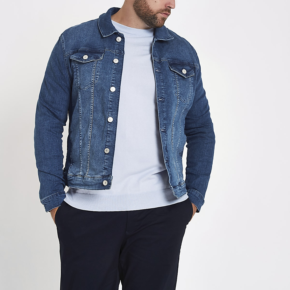 Big and Tall – Veste en jean bleue