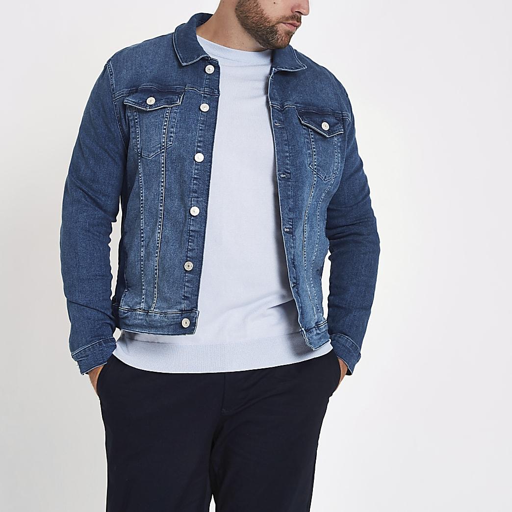Big and Tall – Veste en jean bleue