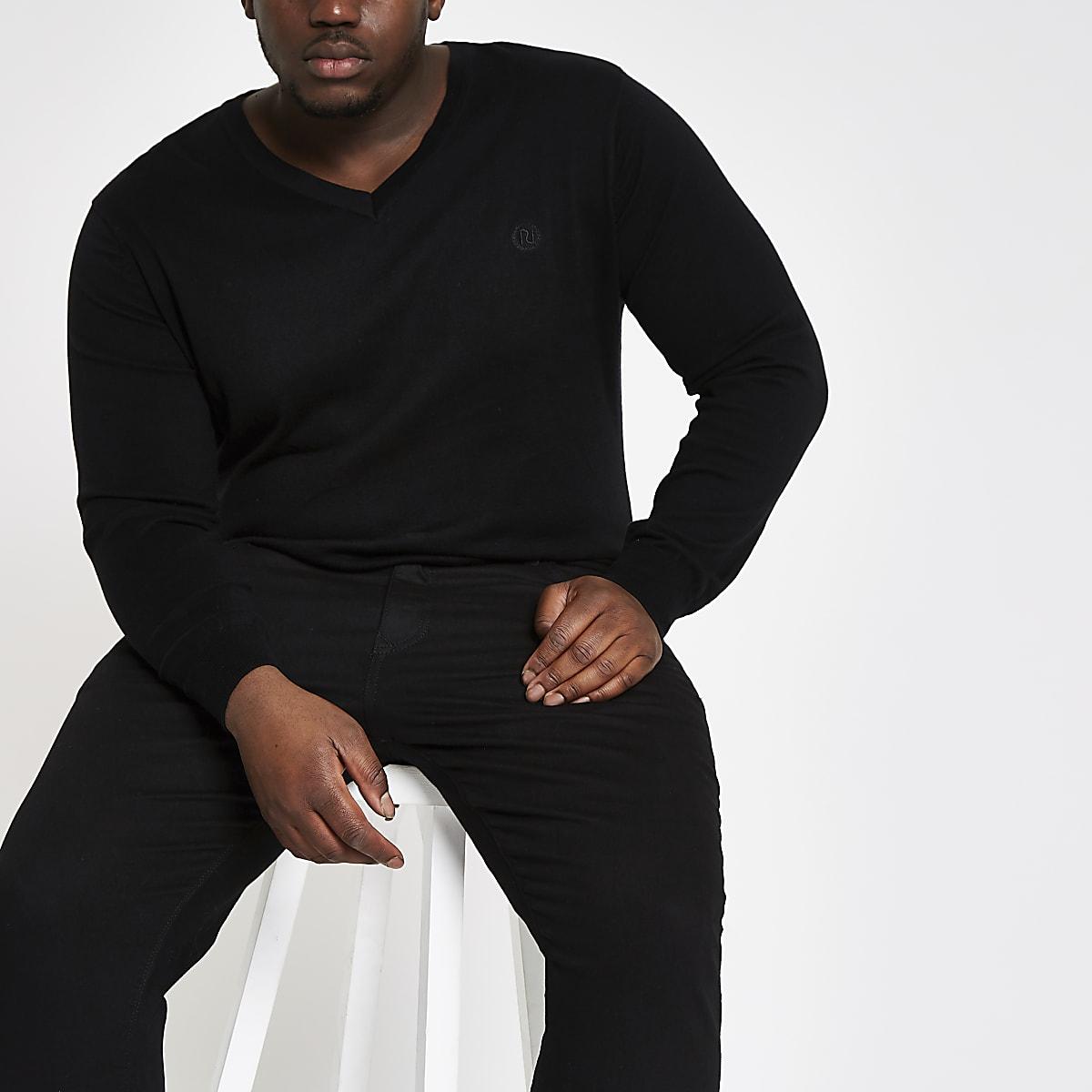 Big & Tall – Schwarzer Slim Fit Pullover mit V-Ausschnitt