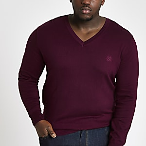 Big and Tall slim fit burgundy v neck jumper