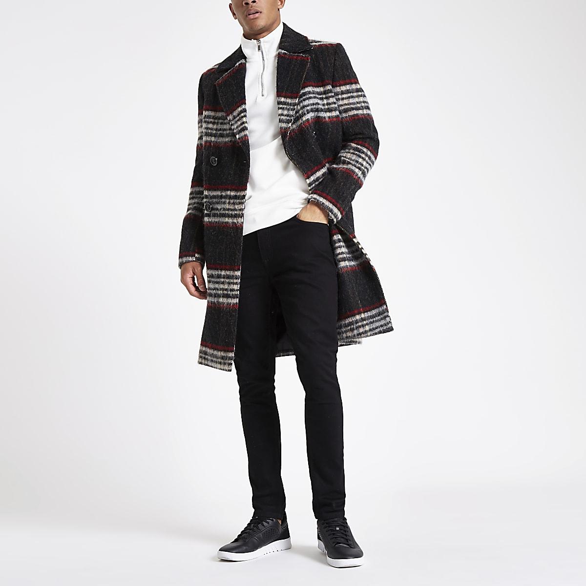 Zwart met rood geruwde geruite wollen overjas