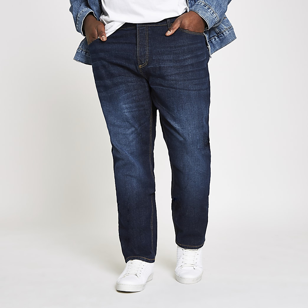 Big & Tall – Dylan – Jean slim bleu foncé
