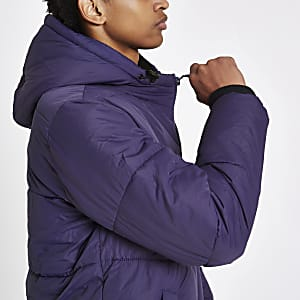Purple funnel neck puffer jacket