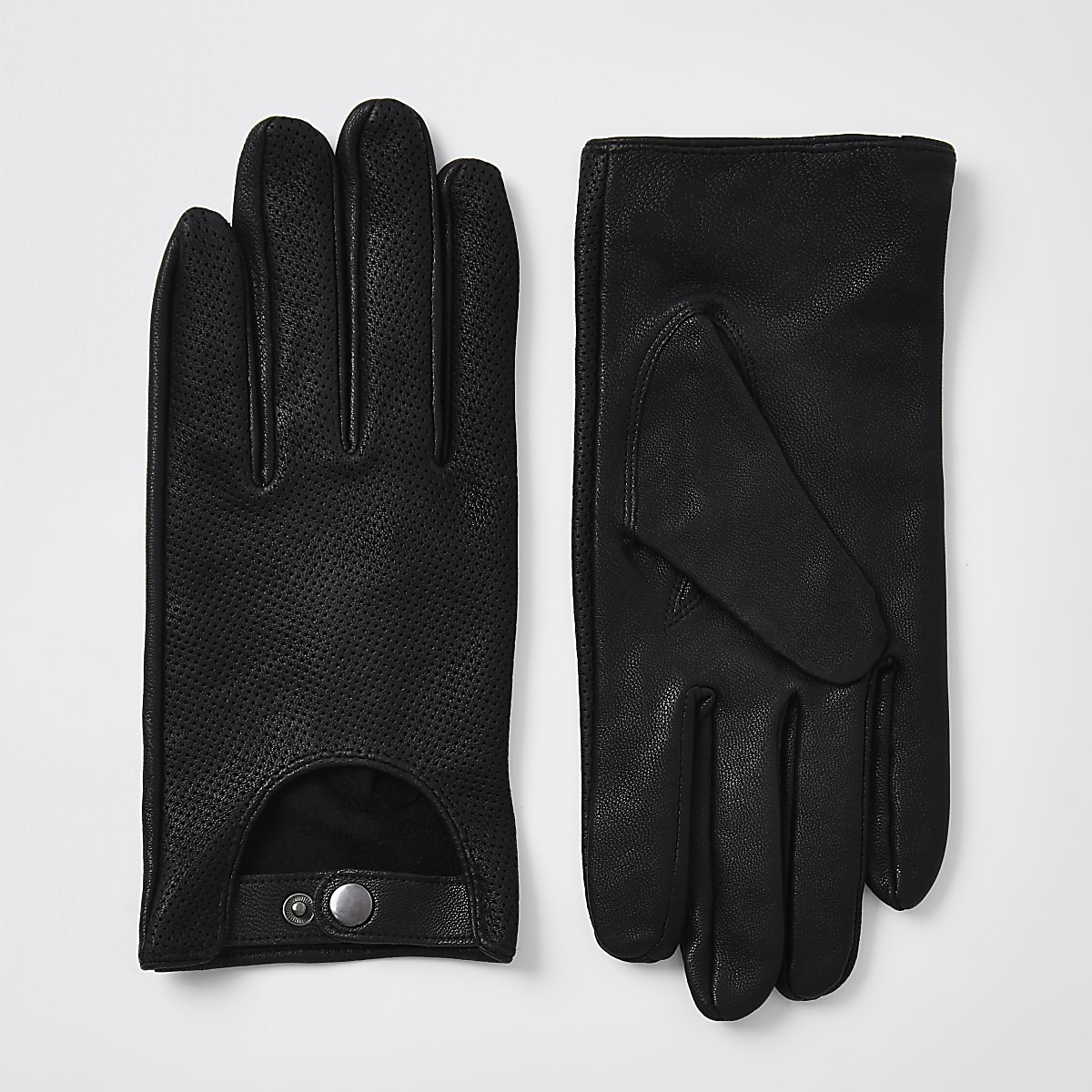 Black leather driving gloves
