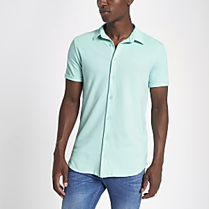 Light green muscle fit button-down shirt