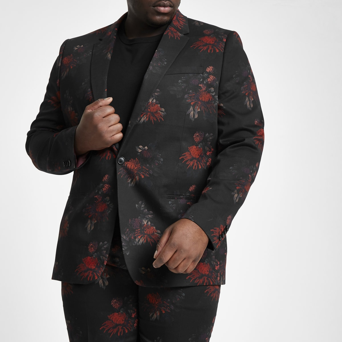 Big and Tall black floral suit jacket