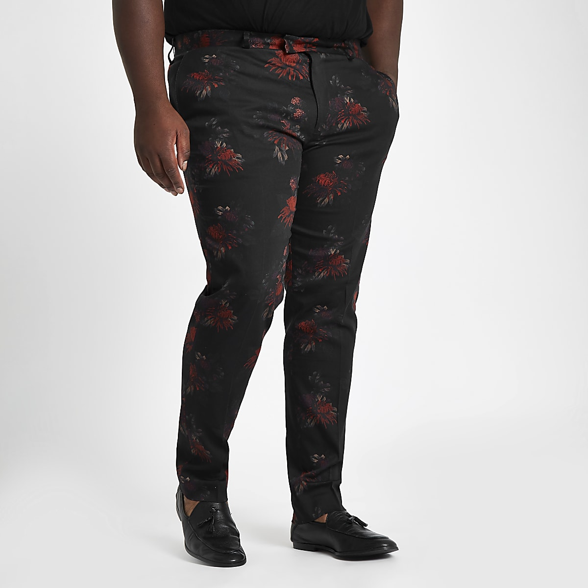 83e28500e9cf Big and Tall black floral suit trousers - Suit Trousers - Suits - men