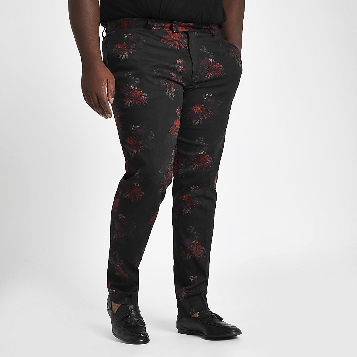 Big and Tall – Pantalon de costume à fleurs noir
