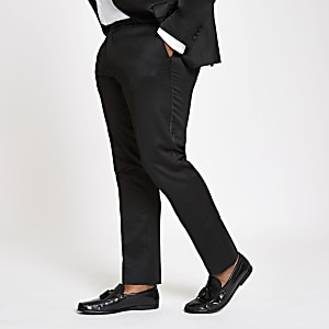 Big and Tall black skinny suit trousers