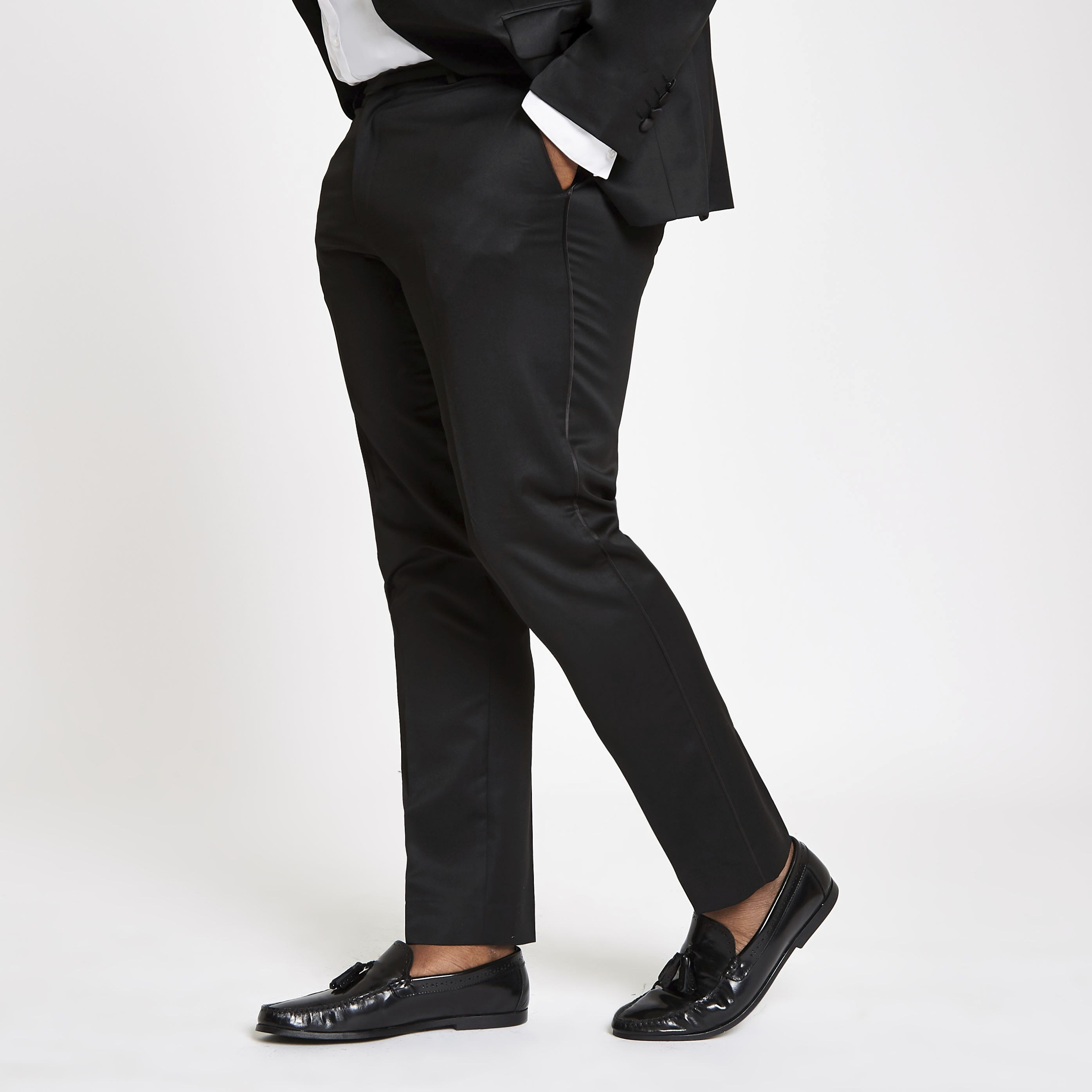 RIVER ISLAND | Mens Big and Tall Black skinny suit trousers | Goxip