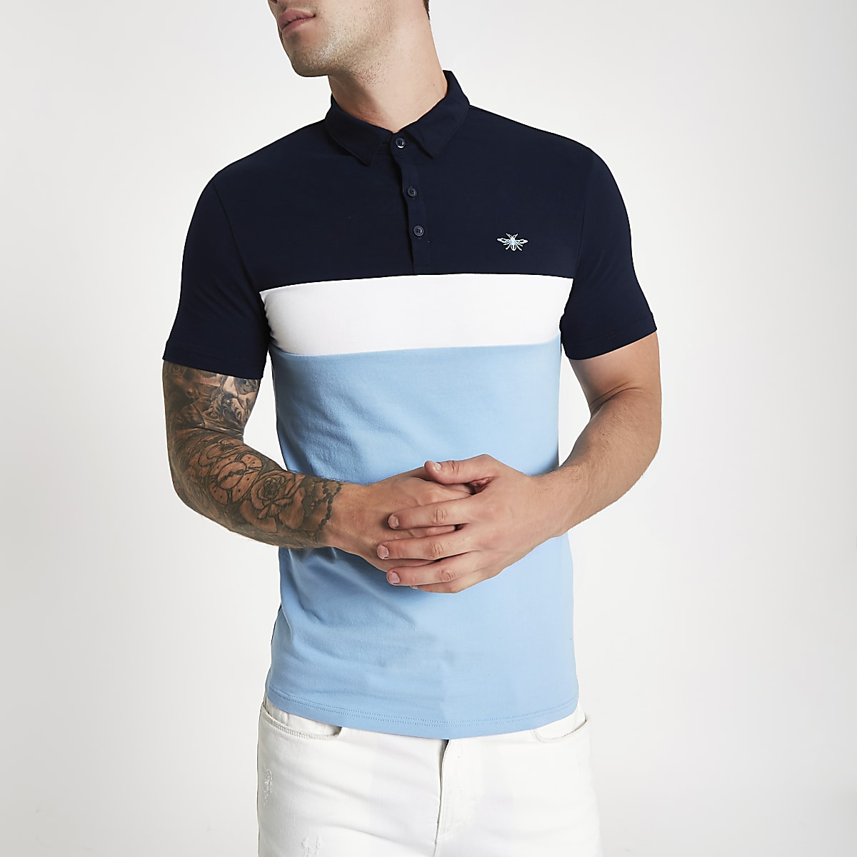 Blue block muscle fit polo shirt