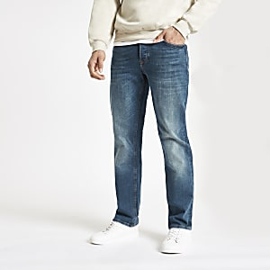 Blaue Straight Leg Jeans